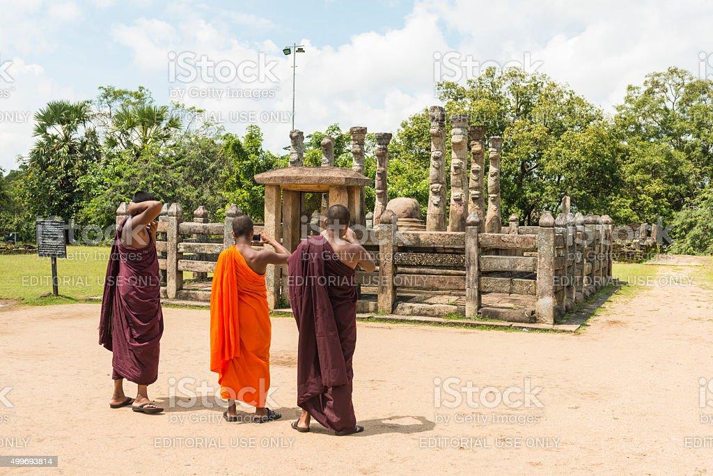 Monks at Nissanka Latha Mandapaya stock photo