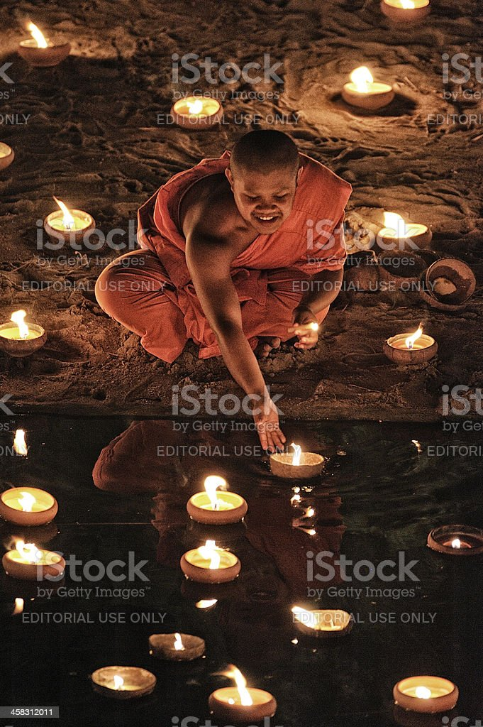 Monks at Phan Tao temple during the Loi Krathong Festival. royalty-free stock photo