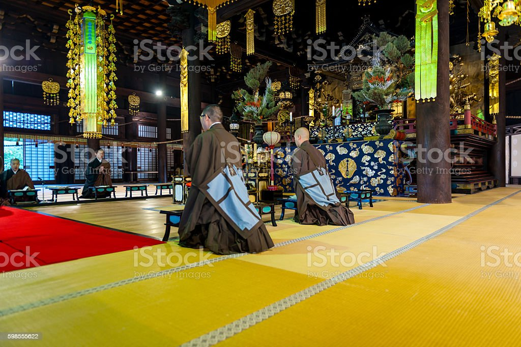 Monks chanting in temple,Chion-ji,Kyoto ,Japan stock photo