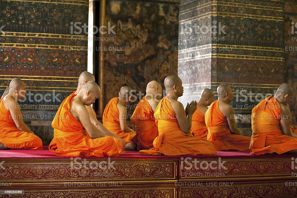 Monks chanting ritual stock photo