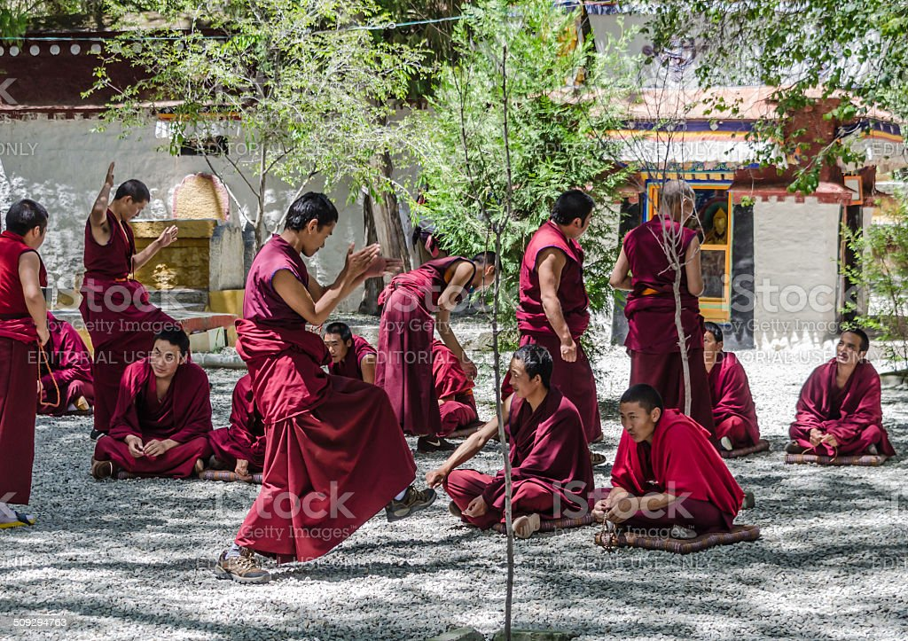 Monks debating in Sera Monastery Tibet stock photo