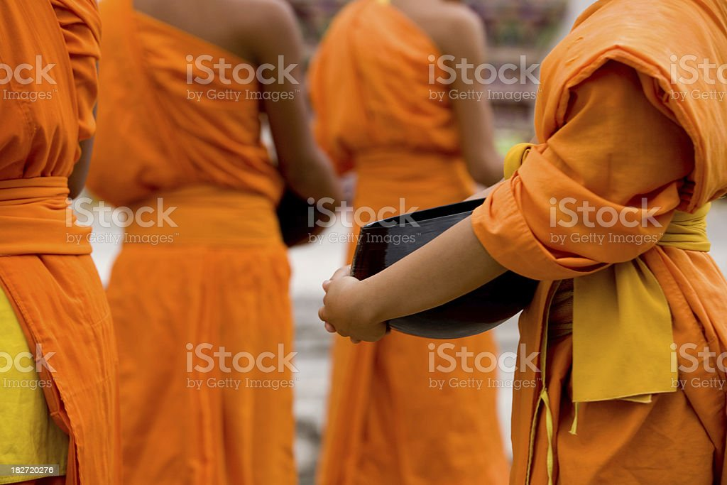 Monks In A Line royalty-free stock photo
