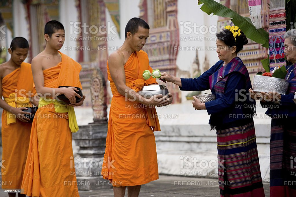 Monks In A Line stock photo