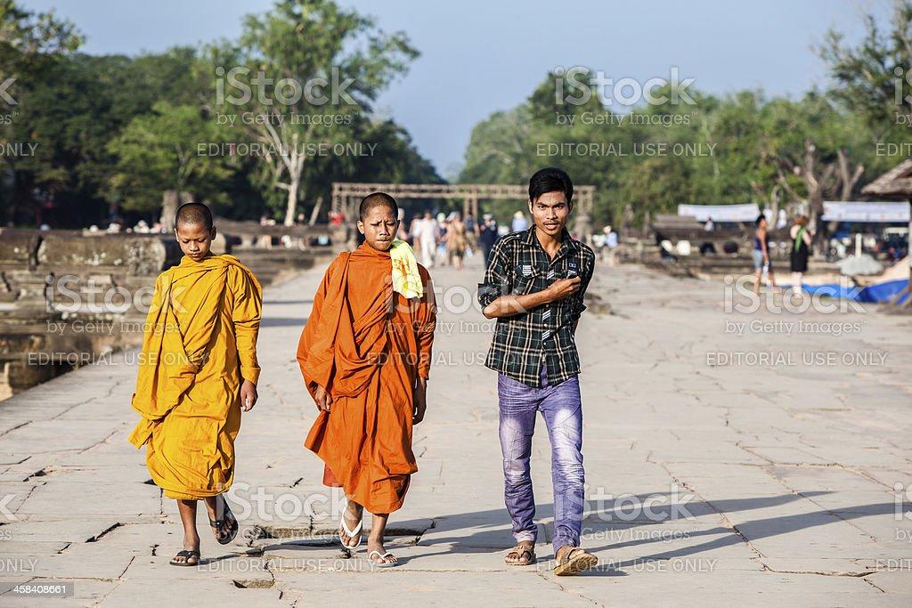 Monks in Angkor Wat, Siem Reap, Cambodia royalty-free stock photo