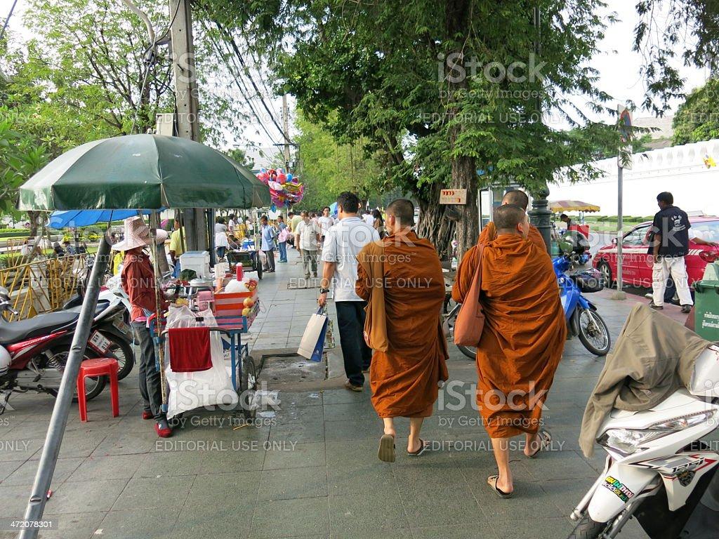 Monks in Bangkok stock photo
