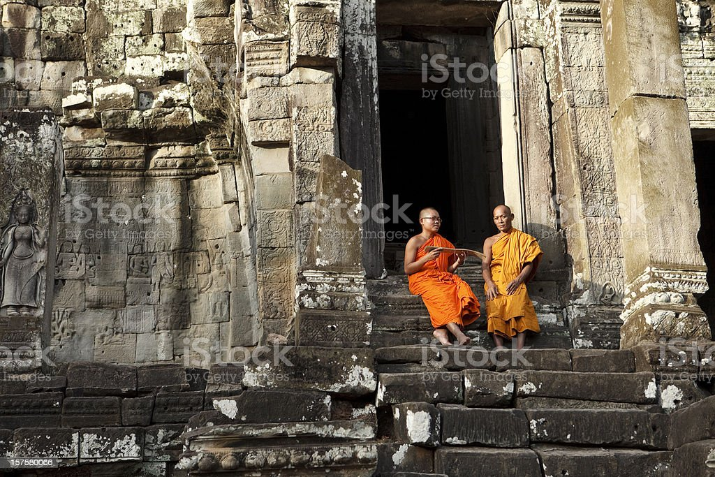 Monks in Siem Reap stock photo