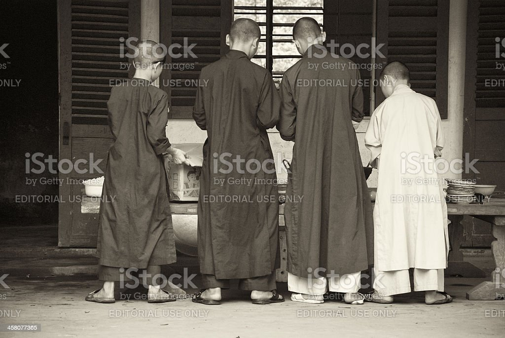 Monks in Thien Mu Pagoda, Hue, Vietnam stock photo