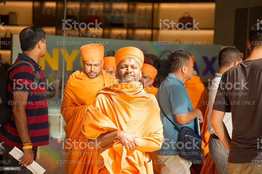Monks in traditional Hindu Robes and pagh stock photo
