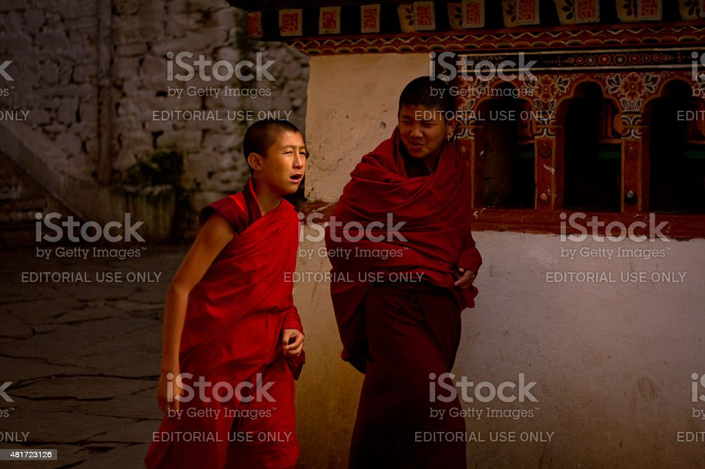 Monks of Rinpung Dzong Fortress Monastery, Paro, Bhutan stock photo