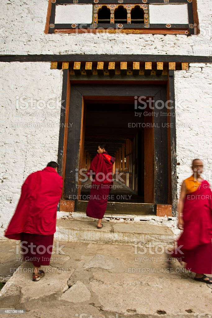 Monks of the Punakha Fortress Monastery, Paro, Bhutan stock photo