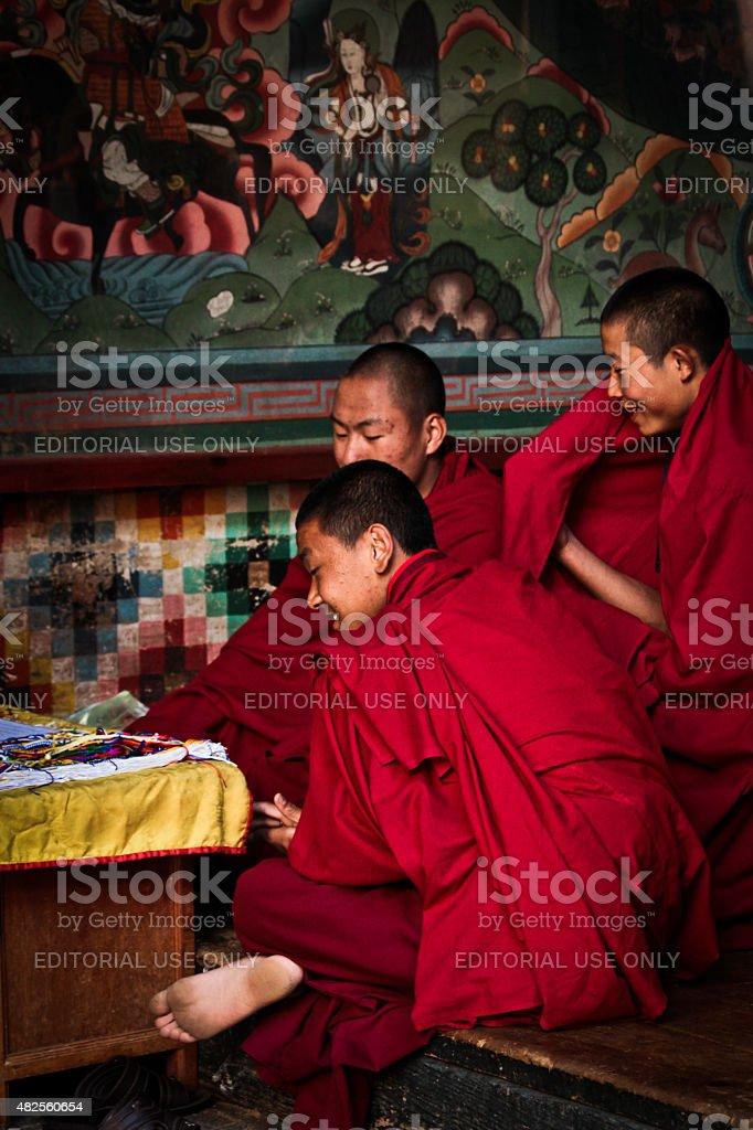 Monks of The Rinpung Dzong Fort, Paro, Bhutan stock photo
