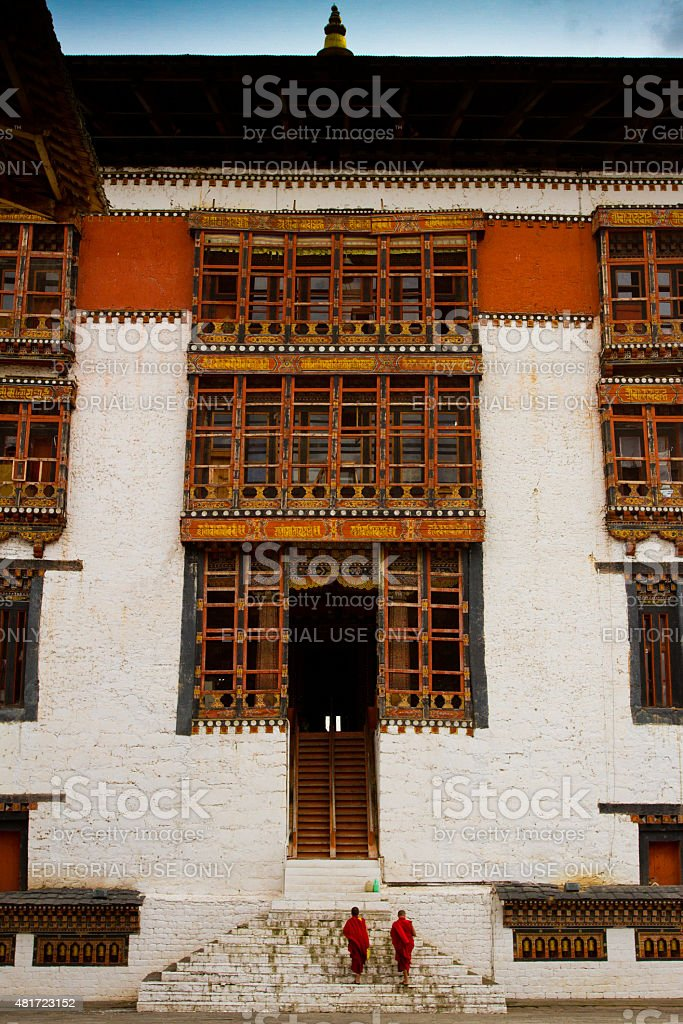 Monks of the Tashi Chho Dzong Fortress, Thimpu, Bhutan stock photo