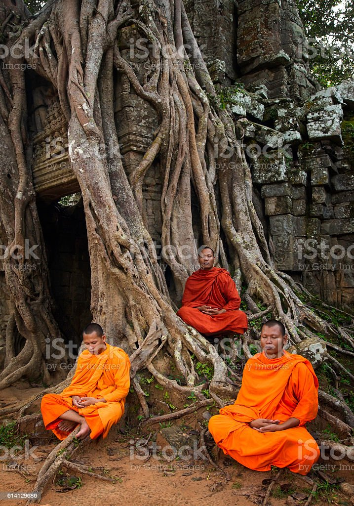 Monks praying for peace stock photo