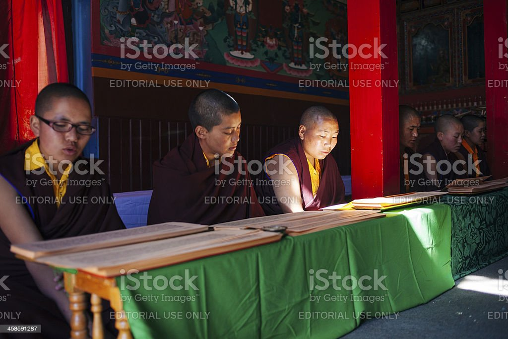 Monks (nuns) reading the ancient  buddhist manuscript. royalty-free stock photo