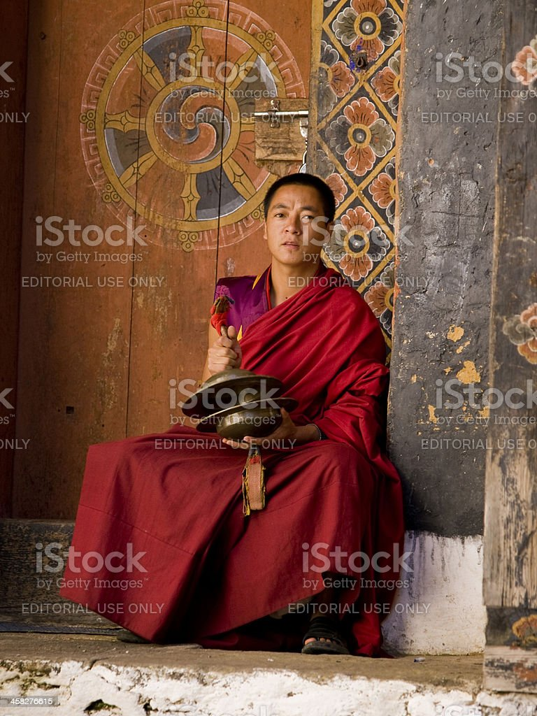 Monks rehearsing for the Jakar tsechu royalty-free stock photo