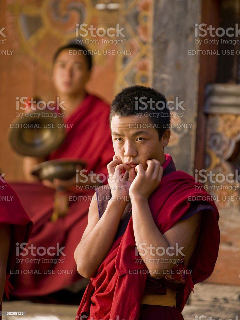 Monks rehearsing for the Jakar tsechu royalty-free stock photo