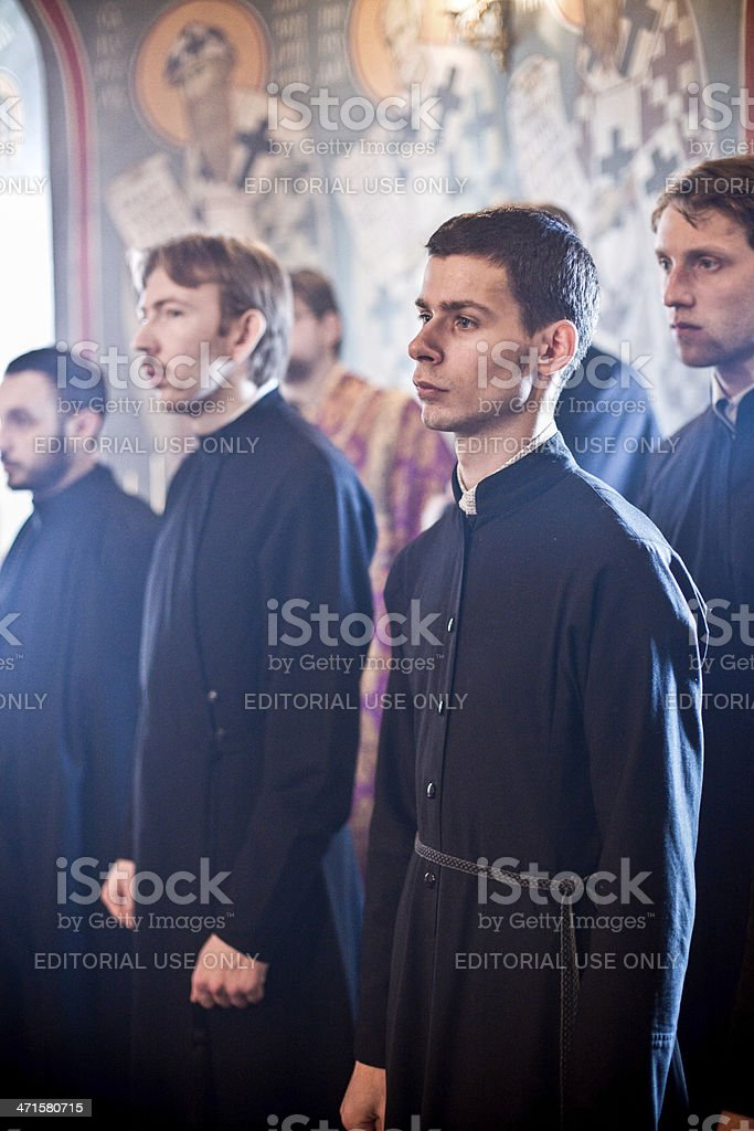 monks stay in sanctuary royalty-free stock photo