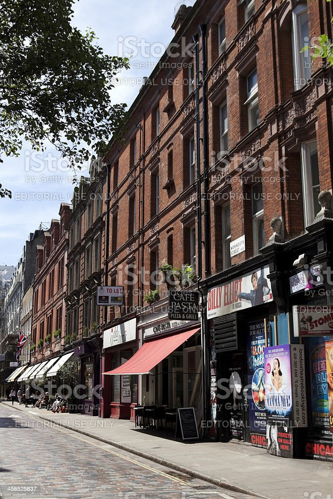 Monmouth Street, London, with pavement cafes royalty-free stock photo