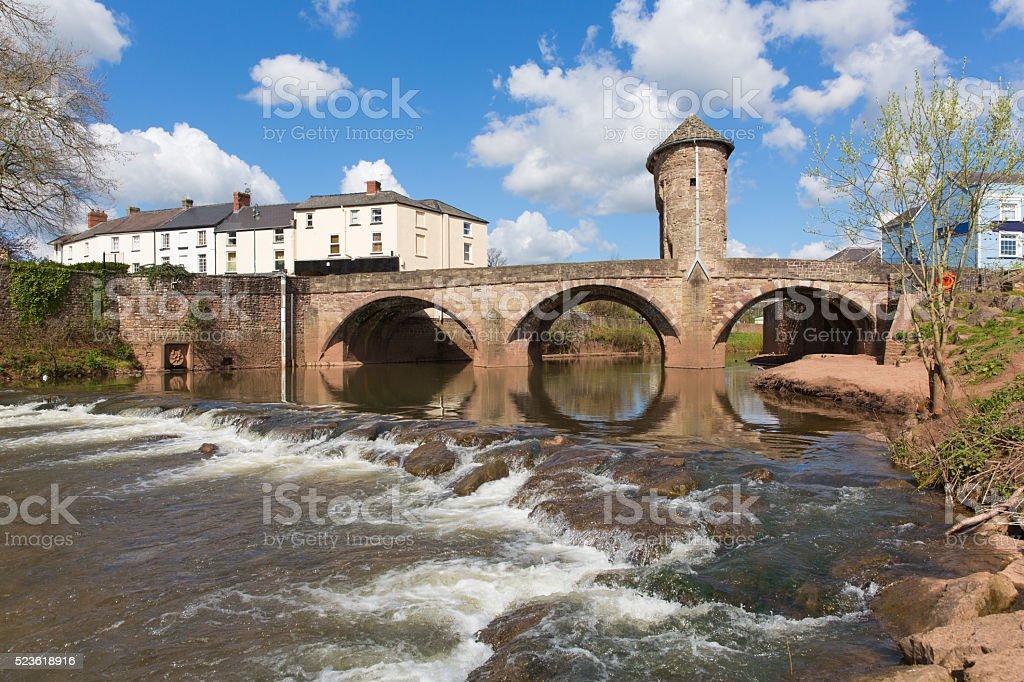 Monnow Bridge Monmouth Wales uk Wye Valley tourist attraction stock photo