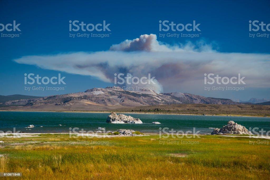 Mono Lake, CA and wildfire stock photo