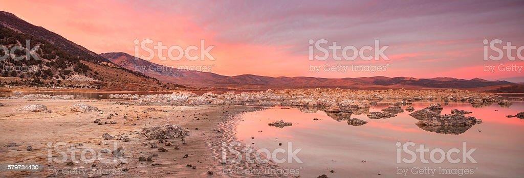 Mono Lake, California panoramic at sunset stock photo