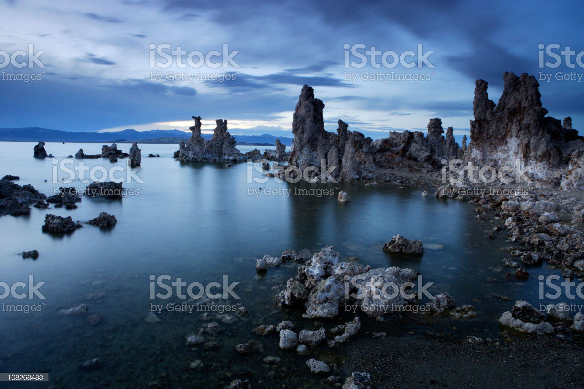 Mono Lake Rock Formations at Twilight royalty-free stock photo