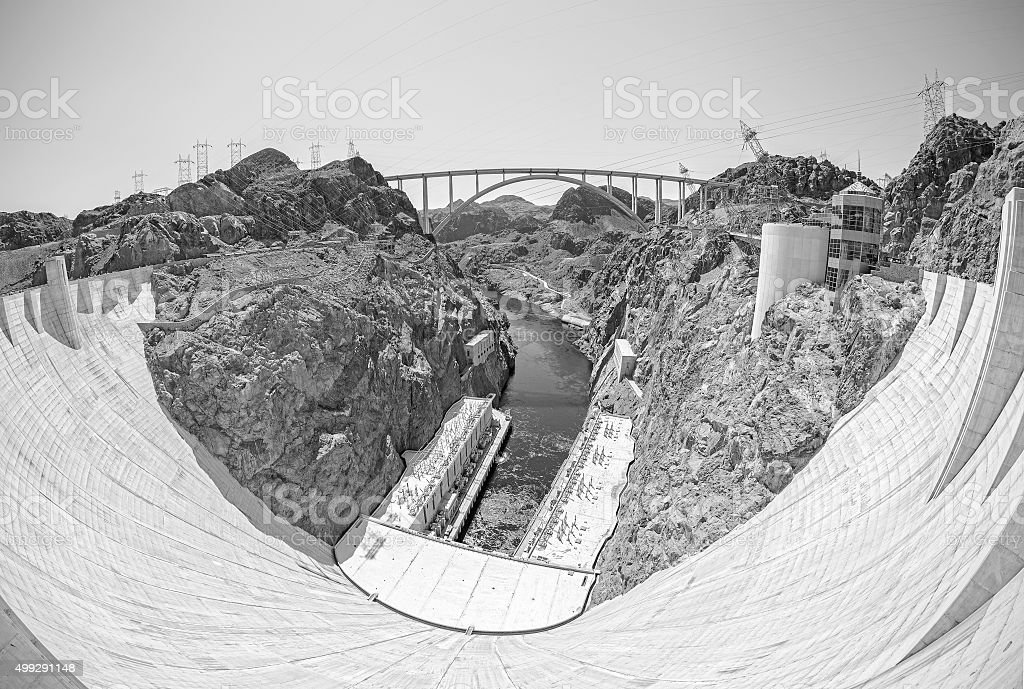 Monochromatic fisheye lens picture of the Hoover Dam. stock photo