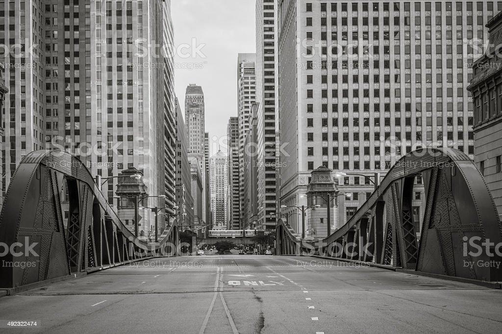 Monochromatic LaSalle Street Bridge stock photo