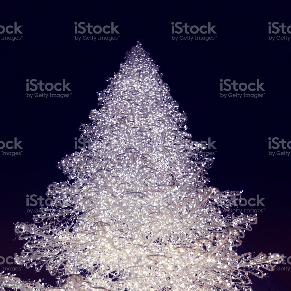 Monochrome abstract of a Christmas Tree with white lights stock photo