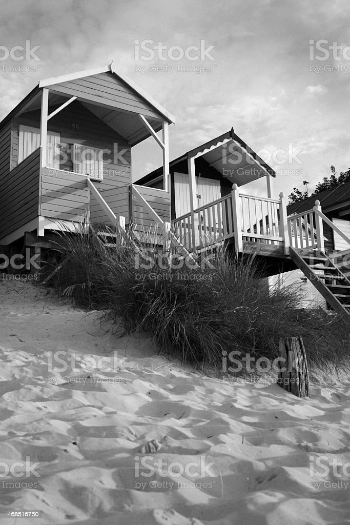 Monochrome Beach Huts stock photo