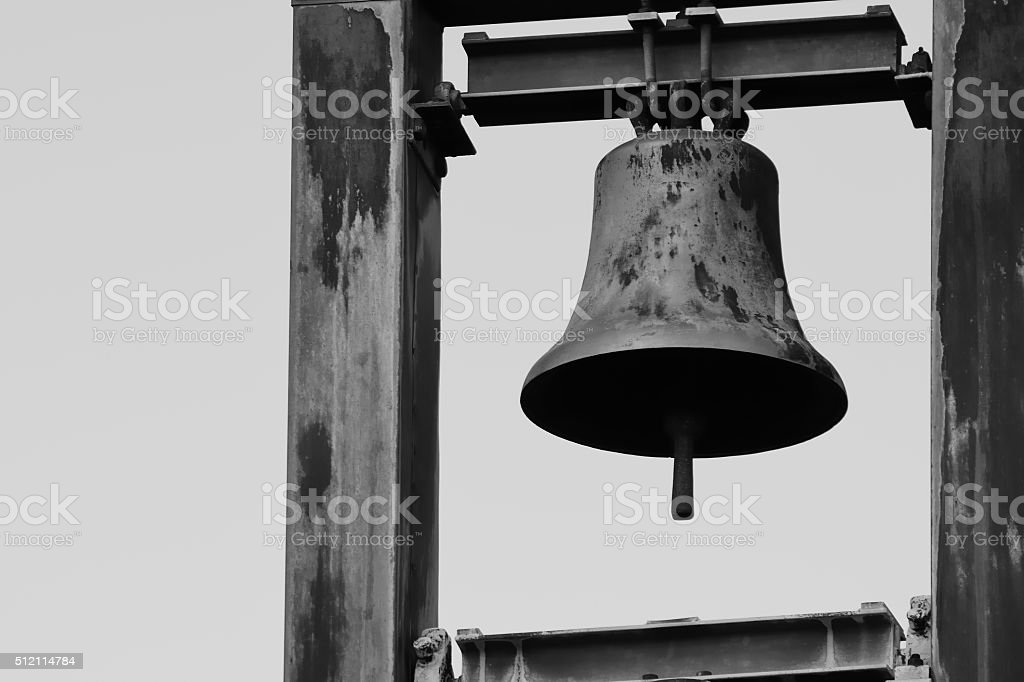 Monochrom church bells stock photo