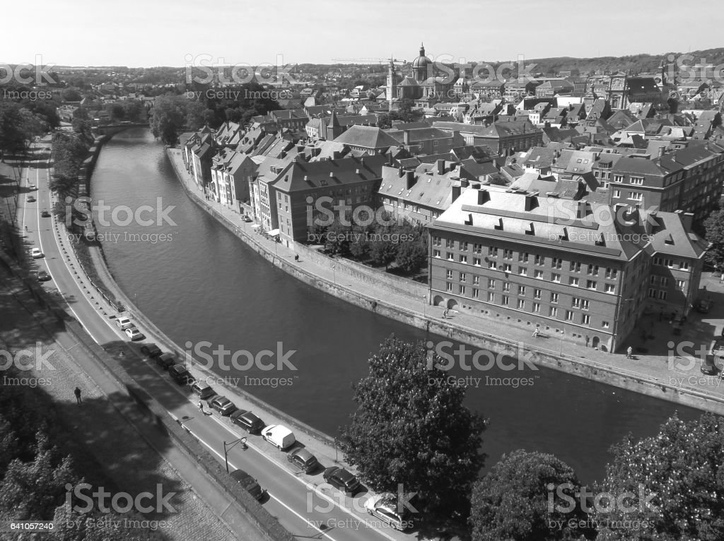 Monochrome cityscape of Namur as seen from the Citadel of Namur stock photo