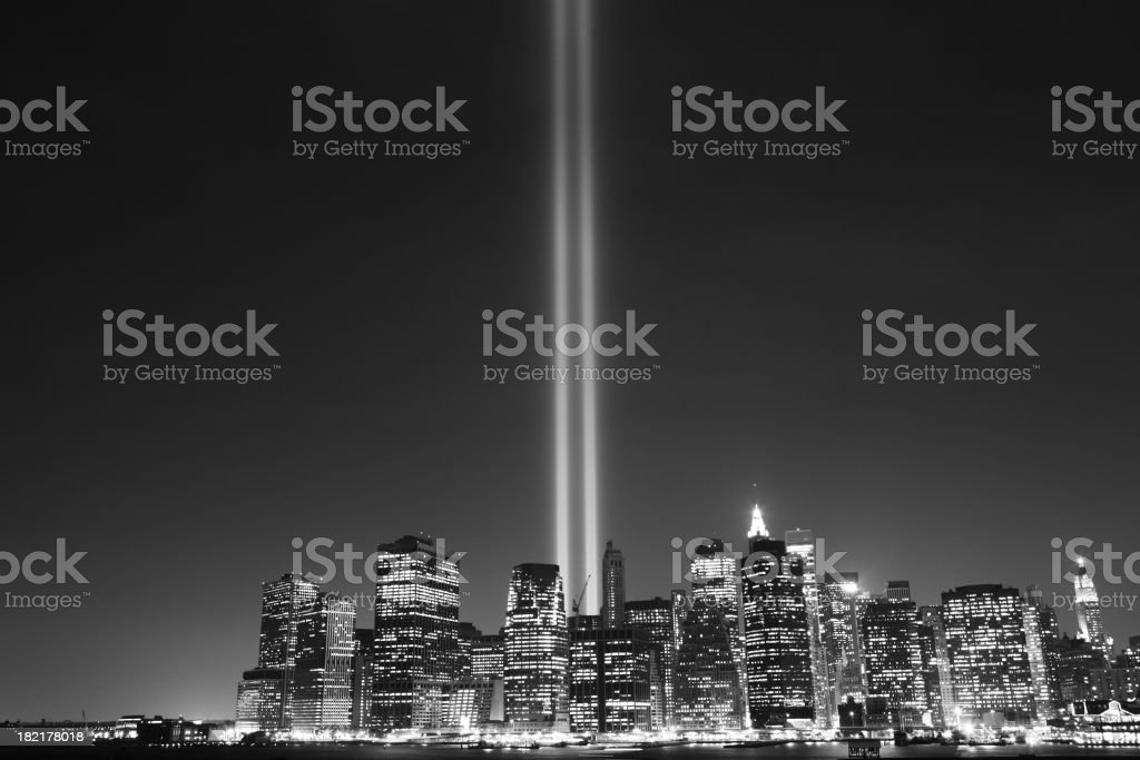 Monochrome effect on the September 11 Memorial Lights, NYC stock photo