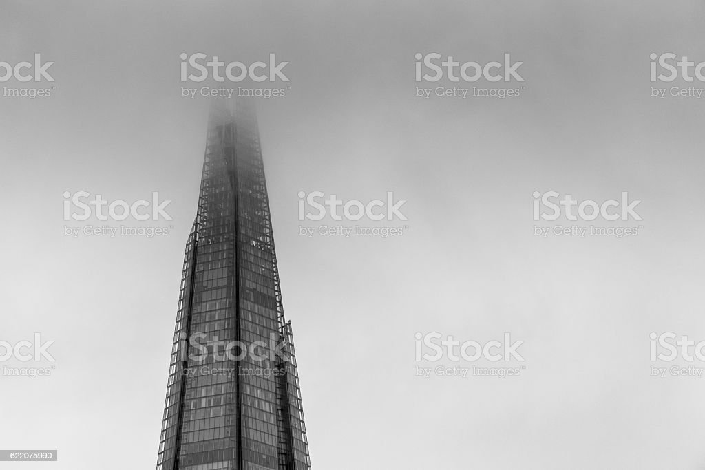 Monochrome image of The Shard and clouds, London, UK stock photo