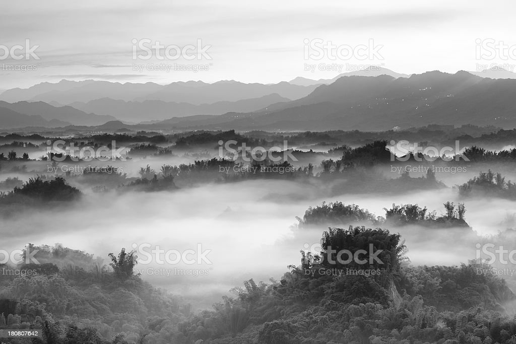 monochrome Majestic mountains landscape royalty-free stock photo