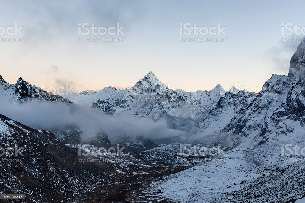 Monochrome mountain view of Ama Dablam summit on the stock photo