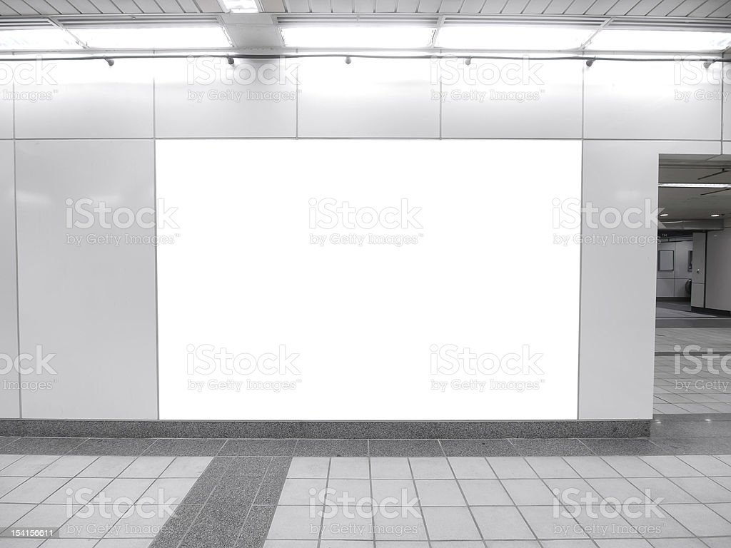 Monochrome photo of oblong blank billboard and tiled floor royalty-free stock photo