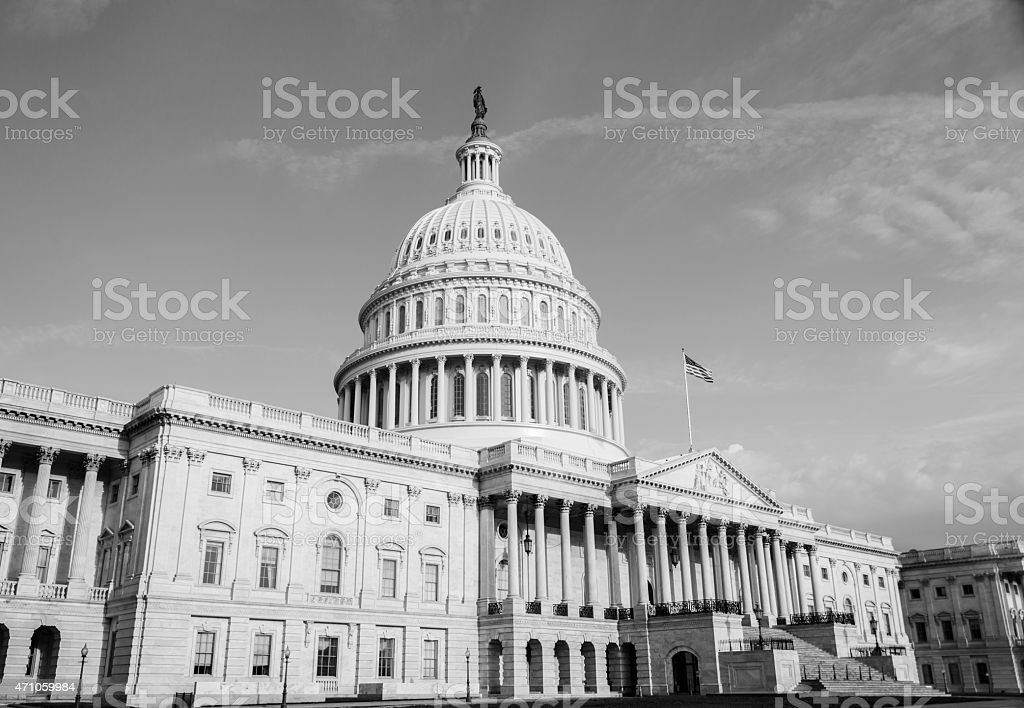 Monochrome photo of the US Capitol Building in Washington DC stock photo