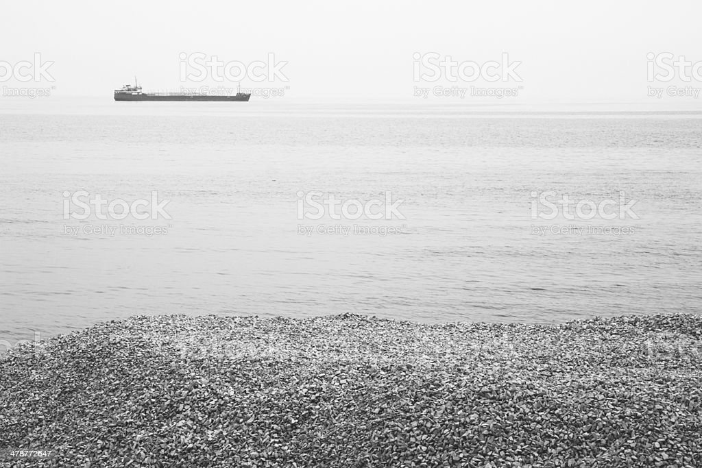 Monochrome photograph of Black sea shore, Crimea, Ukraine royalty-free stock photo