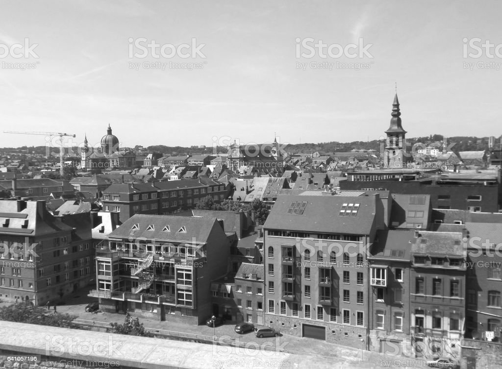 Monochrome picture of the historical buildings as seen from the Citadel of Namur stock photo