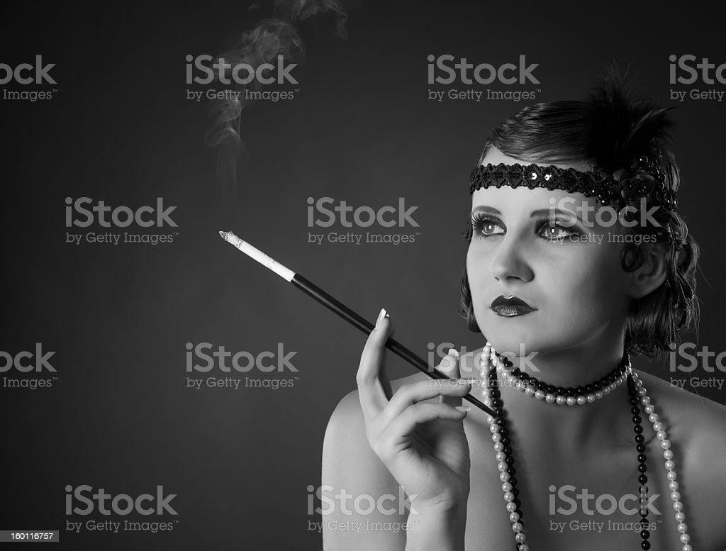Monochrome retro-styled portrait of lady royalty-free stock photo