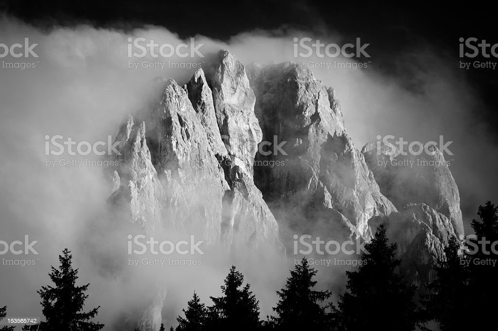 Monochrome Sasslong Immersed in Clouds stock photo