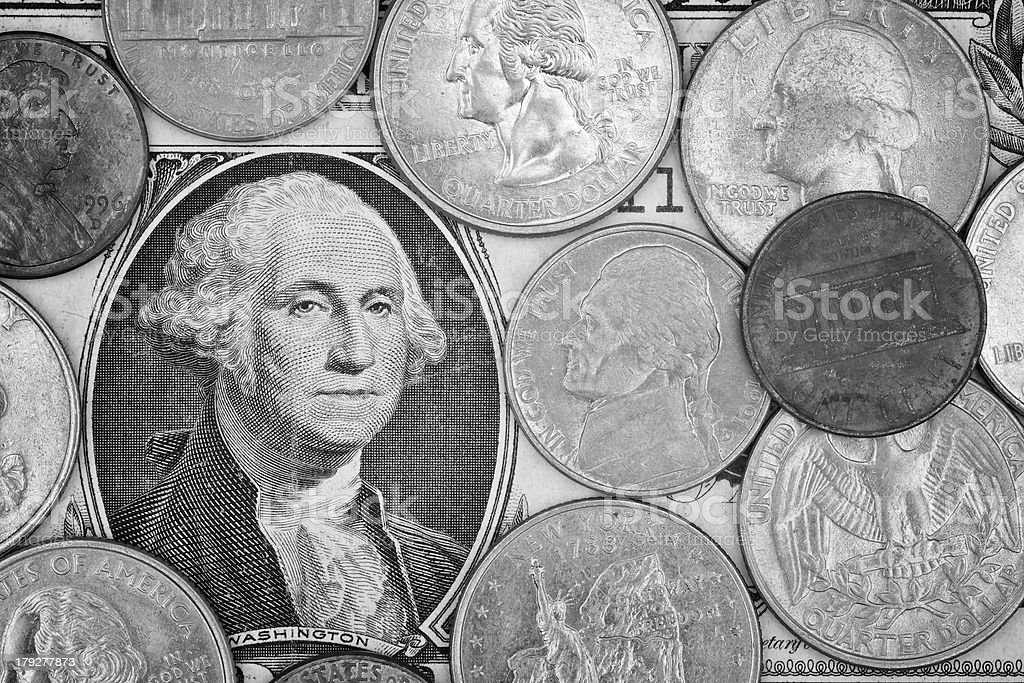 monochrome shot of American dollar money background for business royalty-free stock photo