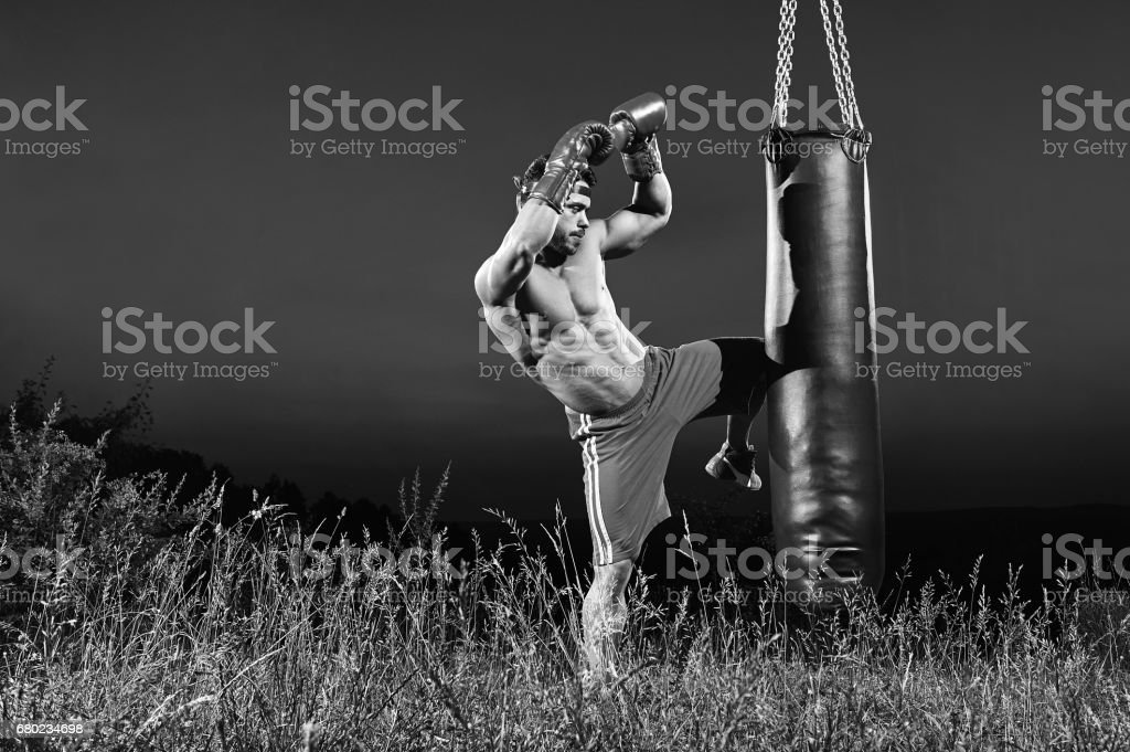Monochrome shots of a male boxer training with a punching bag ou stock photo