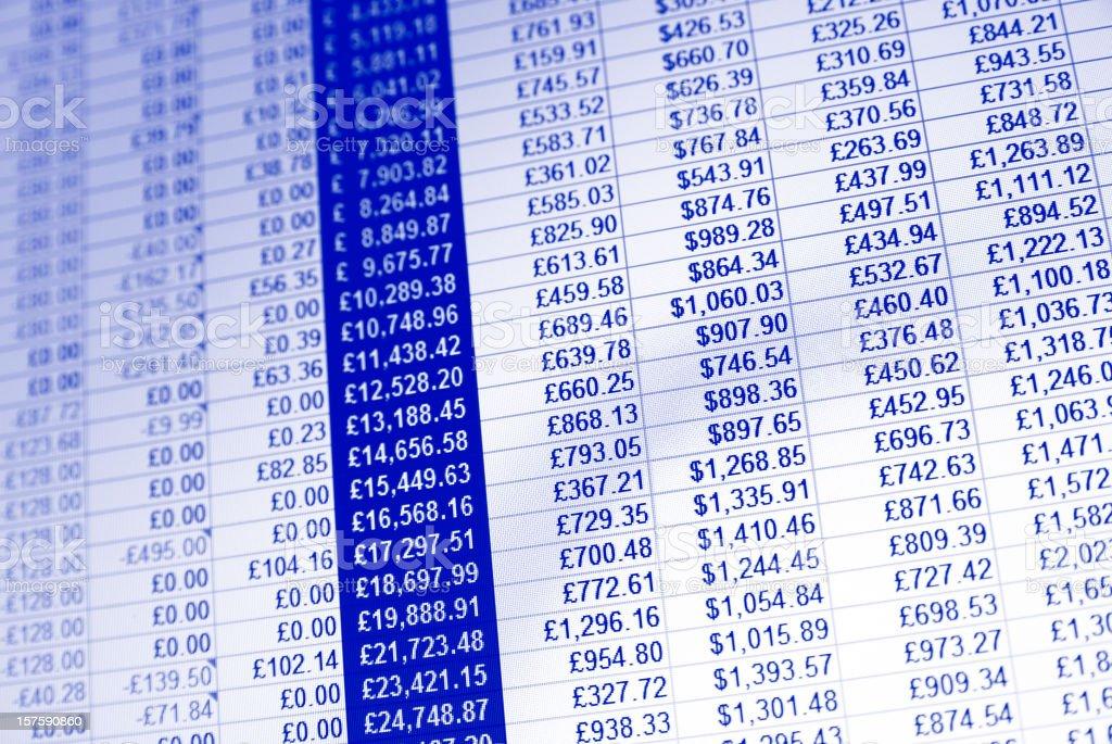 Monochrome spreadsheet financial data background stock photo