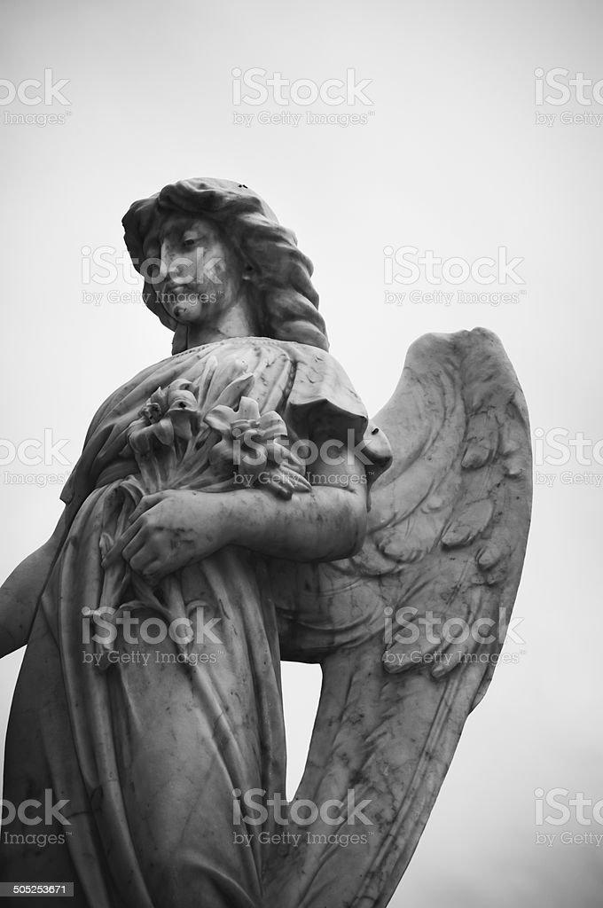 Monochrome statue of an angel stock photo