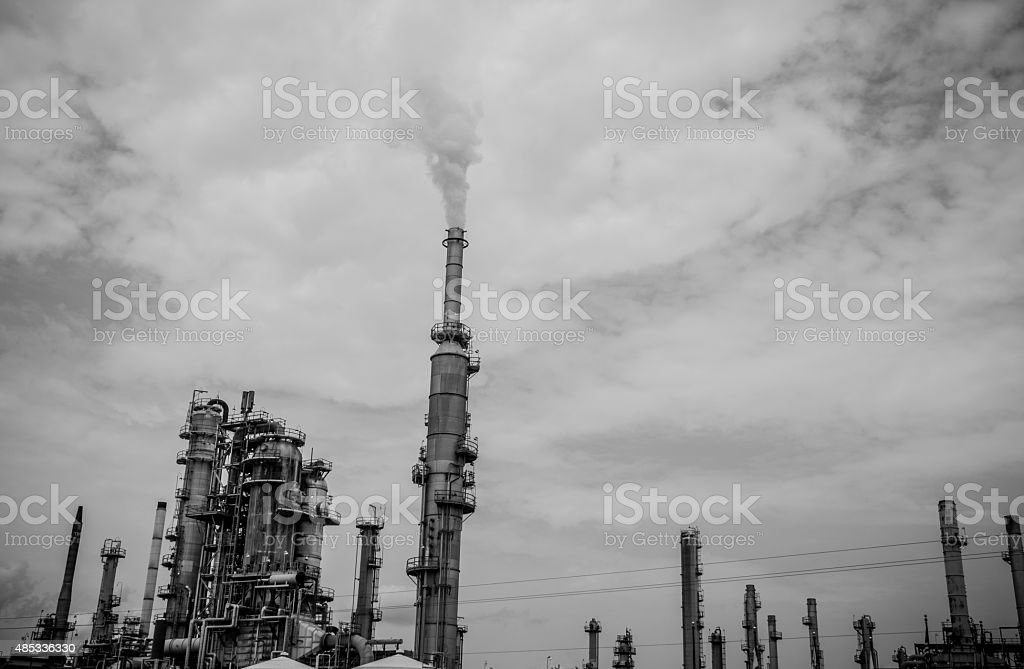 Monochrome Texas Refinery Pollution Control is Needed stock photo