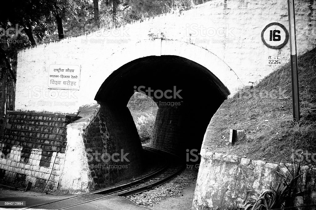 Monochrome Unesco world Heritage Train Tunnel stock photo