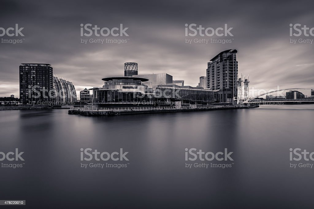 Monochrome View Of The Lowry Centre At Salford Quays. stock photo