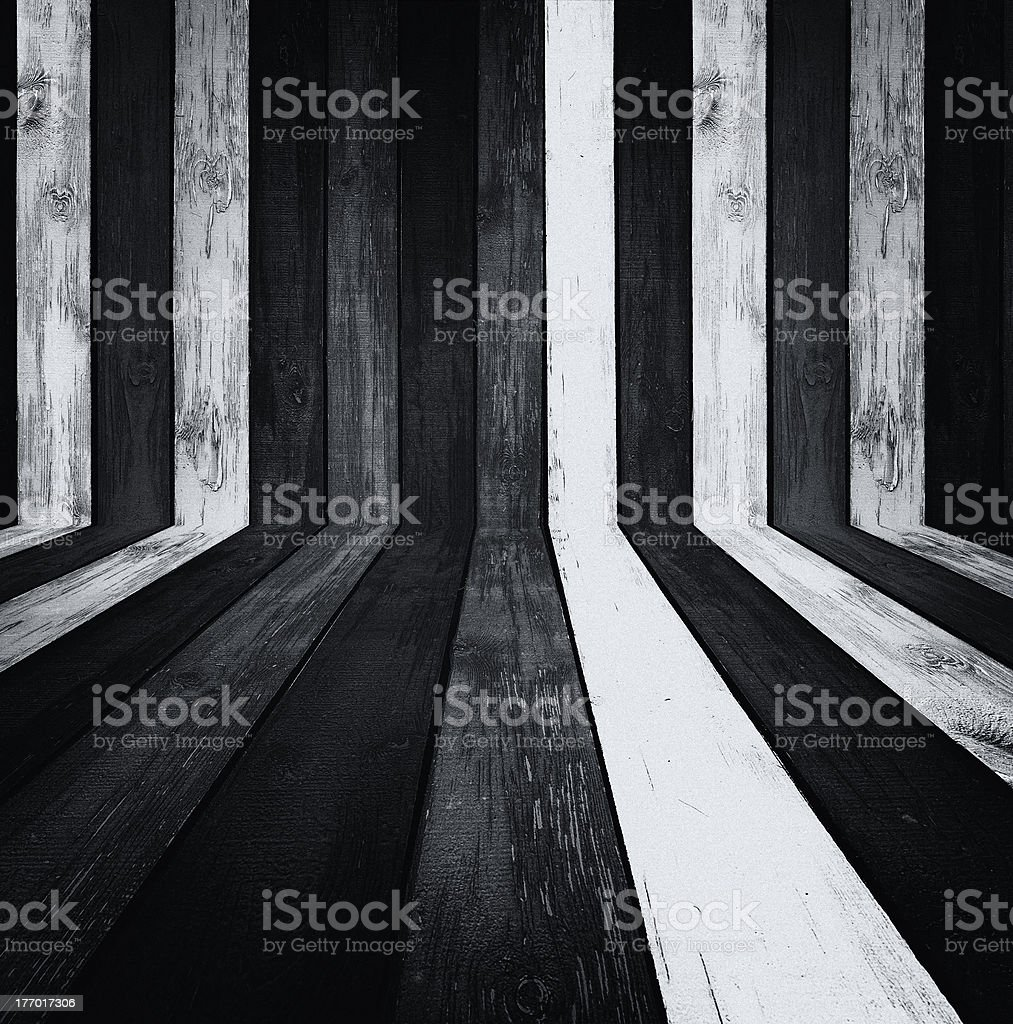 Monochrome Wooden Room royalty-free stock photo